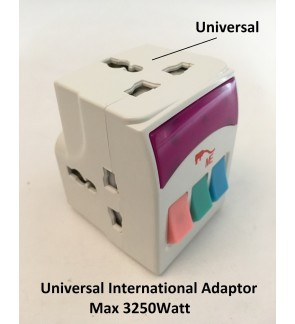 3 Way International Universal Multi Adaptor/Travel Plug/Socket/Adapter With Switch Control
