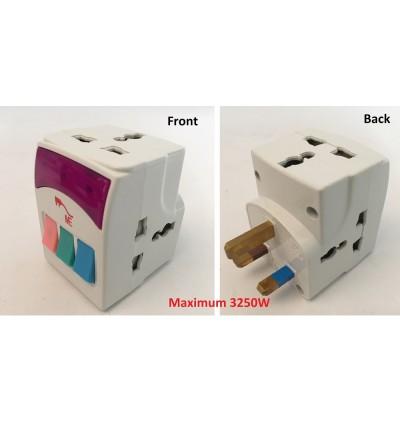 3 Way International Universal Multi Adaptor/Travel Plug/Socket/Adapter With Switch Control