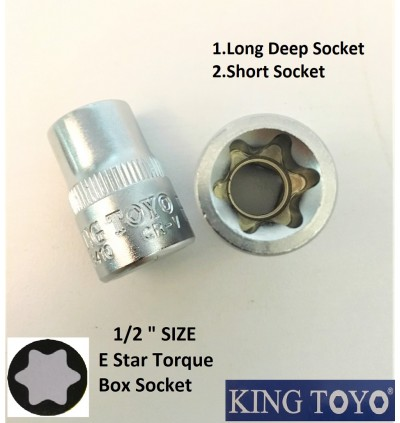 1/2Inch E Star Torque Long Or Short Box Point Socket For Mechanical And Machinery Purpose.