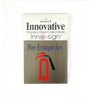"100% Stainless Steel Grade 304 Collectable Inno Sign ""Fire Extinguisher "" Square Signage Plate"