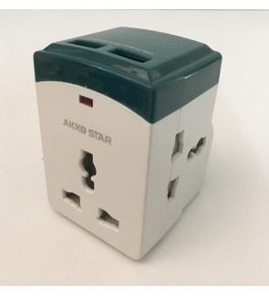 3 Way Universal International Adaptor With Fast Charging 2 USB