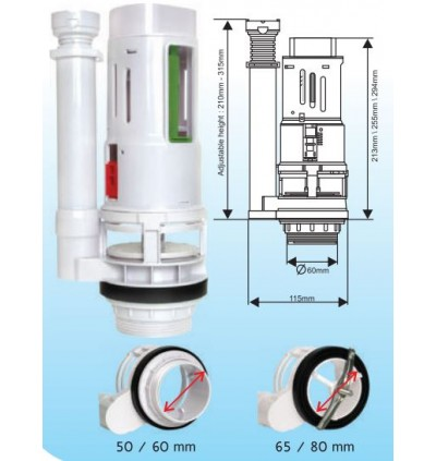 Cistern Tank One Piece Outlet Valve ,Dual Flush Push Button