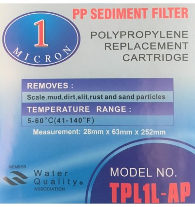 Water Filter PP Cartridge 1 Micron For Water Treatment Filteration System