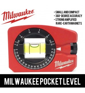 Milwaukee Pocket Level, Strongest Magnets, 360° Accuracy Measuring Level