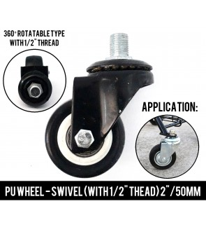 Super Solid Heavy Duty 2 Inch (50mm) PU Wheel With Shank For Furniture ,Cupboard, Cabinet ,DIY Trolley