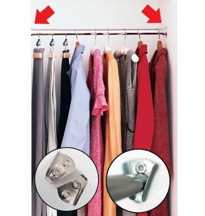 2pcs Iron V Bracket Closet Furniture/Cupboard/Cabinet Wardrobe Pole Rod Tube Holder Cloth Hanger