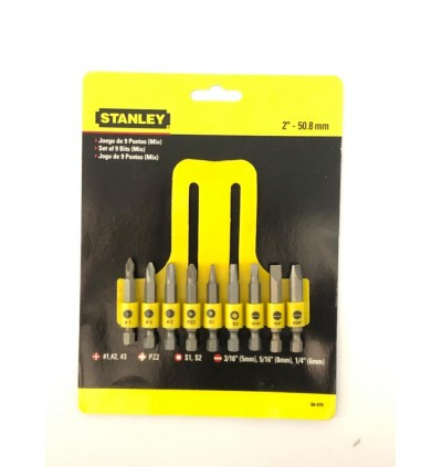 Stanley Screwdriver Insert Bit Set 9PCS Philips Slotted