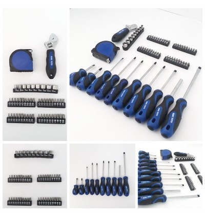 King Toyo 61Pcs Tools Set Of Screwdriver, Wrench, Box Socket, Measurement Tape For Automotive Or Household