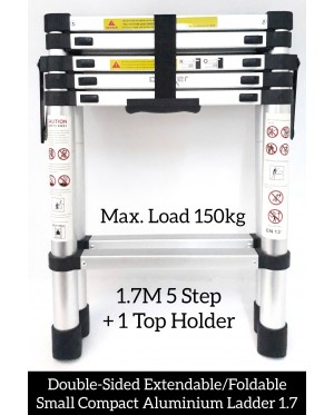 Super Heavy Duty Double-Sided Extendable/Foldable Small Compact Aluminium Ladder 1.7M