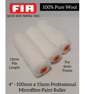4Inch Professional Microfiber Paint Roller 100% Pure Wool 1pcs