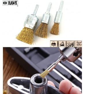 """Super Heavy Duty Industrial Hawk 1/4"""" Wire Brush Flat End Brush For Metal Welding Surface, Removal Of Slag, Rust, Burrs"""