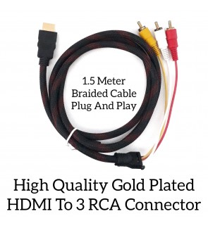 High Quality Gold Plated HDMI To 3 RCA Connector Braided Cable Plug And Play Converter
