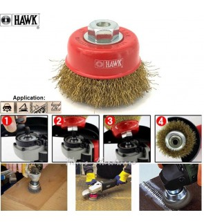 Heavy Duty Hawk Brass Coated Wire Cup Brush  For Metal Welding Surface, Removal Of Slag, Rust, Burrs