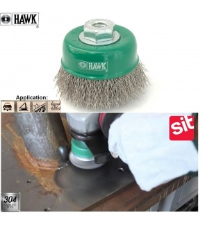Super Heavy Duty Hawk Stainless Steel Cup Brush For Metal Welding Surface, Removal Of Slag, Rust, Burrs