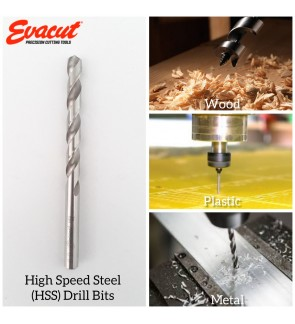 Super Heavy Duty Evacut High Speed Steel (HSS) Drill Bits INCH Size For Plastic , Metal , Stainless Steel And Wood