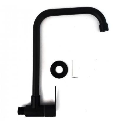 Elegant Matt Black Stainless Steel Wall Kitchen Faucet Waterbibtap Bibtap