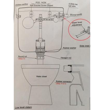 Fish Brand Front Level Handle Toilet Cistern Set