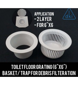 "Toilet Floor Grating Trap Basket (6"" x 6"" ) For Debris Filteration / Cloging Issue"