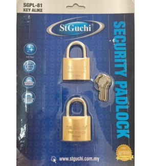 St Guchi Brass Padlock 40mm Key Alike 2pcs(2x)