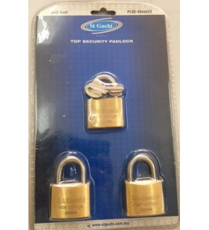 St Guchi Brass Padlock 40mm Key Alike 3pcs(3x)
