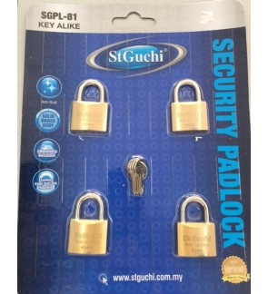 St Guchi Brass Padlock 40mm Key Alike 4pcs(4x)