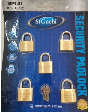 St Guchi Brass Padlock 40mm Key Alike 5pcs(5x)