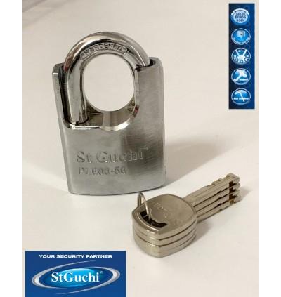 St Guchi Brass Chrome Guarded Padlock 50mm