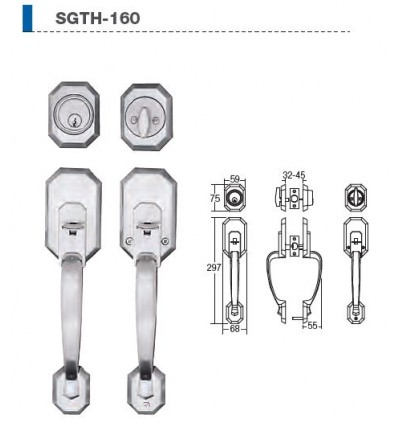 St Guchi Heavy Duty Entrance Handle Gripset Lock SGTH-160