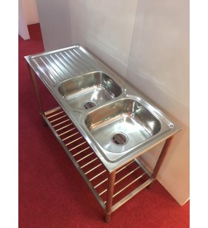 Solid Stainless Steel 304 Double Bowl Kitchen Sink Table
