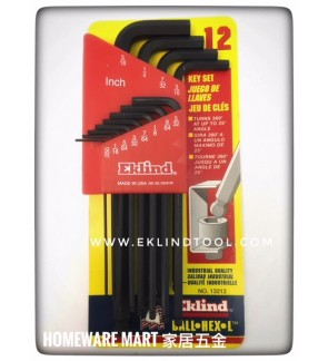 Eklind USA Hex Allen Key 12pcs Black Harderned Alloy Steel (Inch )