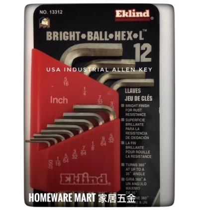 Eklind USA Hex Allen Key 12pcs Bright Finishing Alloy Steel (Inch )