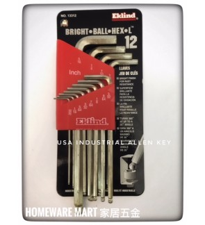 Eklind USA Hex Allen Key 12pcs Bright Finishing Alloy Steel (Inch )