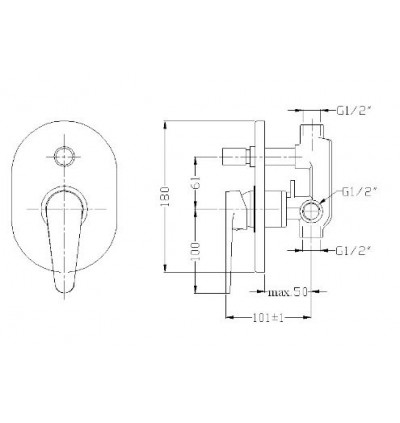 Rubine Concealed Bath & Shower Mixer For Bathroom