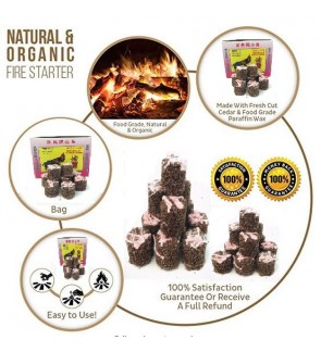 Fire Starter Cubes 40pcs, Natural & Eco Friendly, Perfect for: BBQ Grill, Gas Grill, Campfire Grill, Camping Gear, Camp Cooking, Emergency Survival Kit, Fireplace & BBQ
