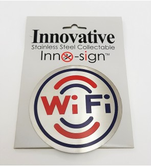 "100% Stainless Steel Grade 304  Collectable Door Signage ""Wi-FI"" Round  Sign Plate"