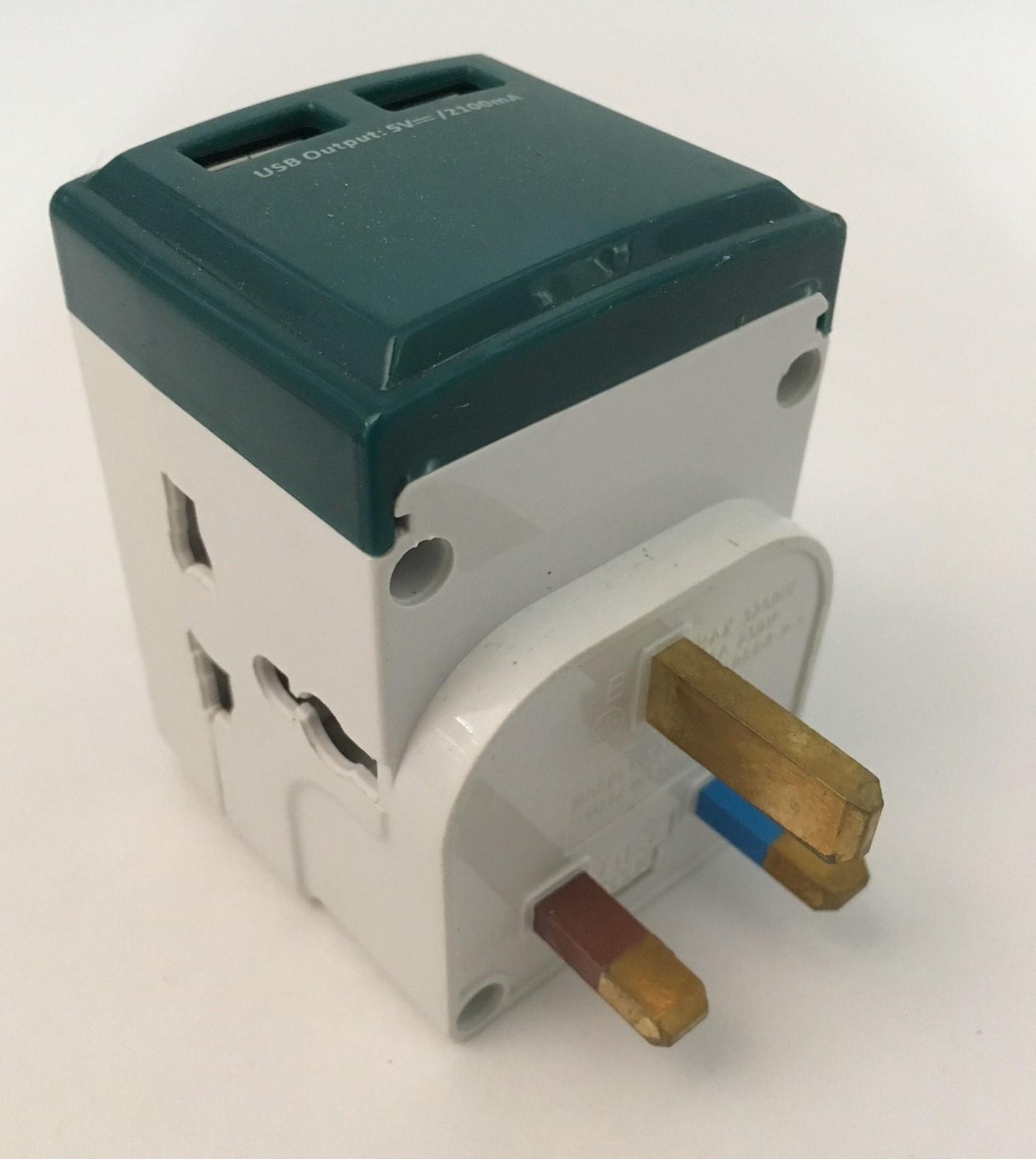 3 Way Universal International Adaptor With Fast Charging 2 USB